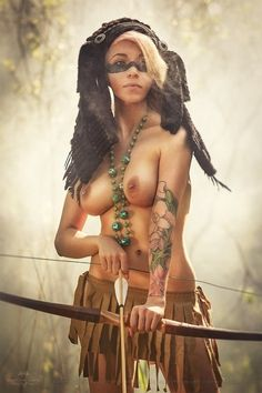 Sexy completely naked warrior girls