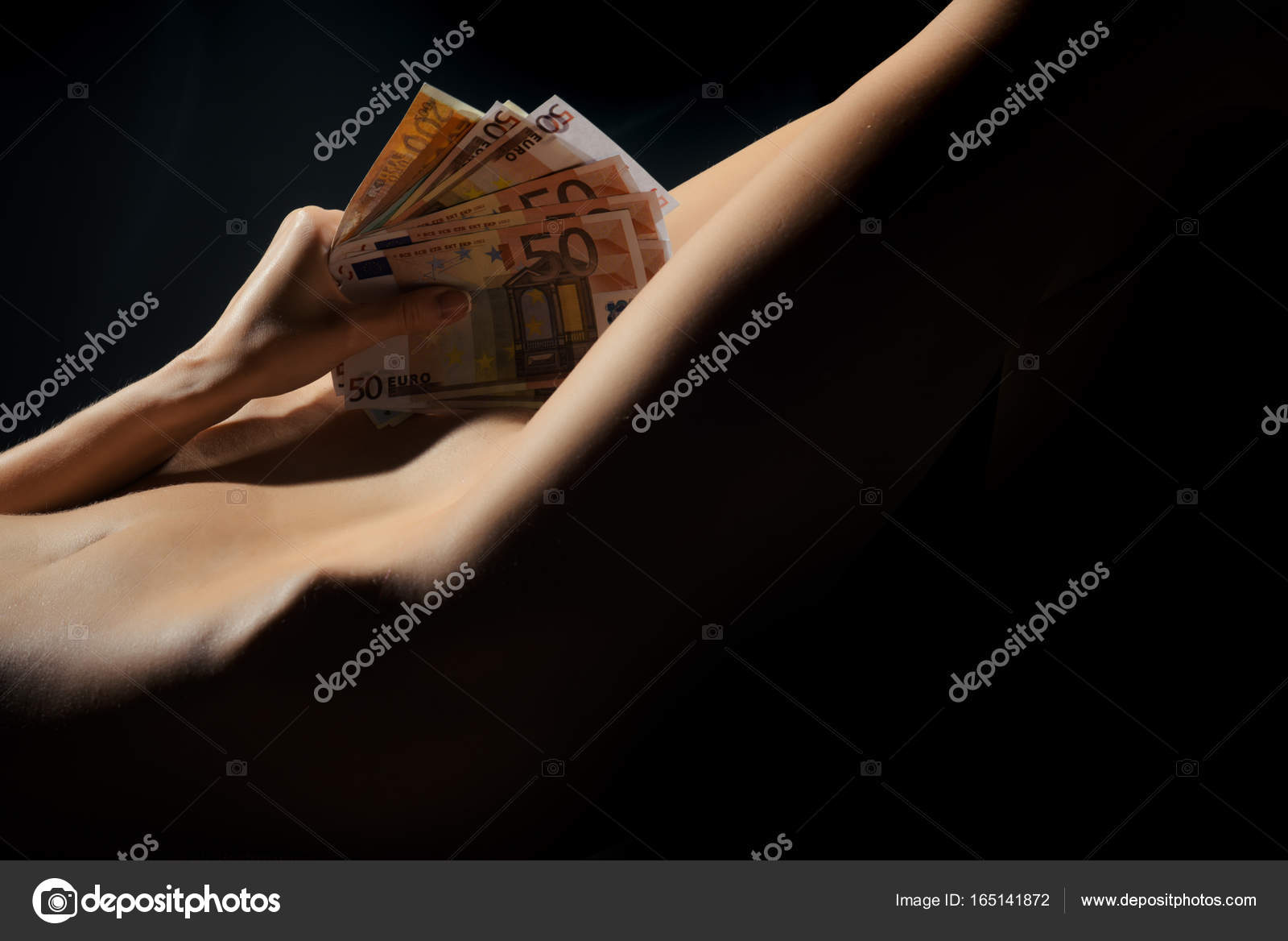 Naked girl with money