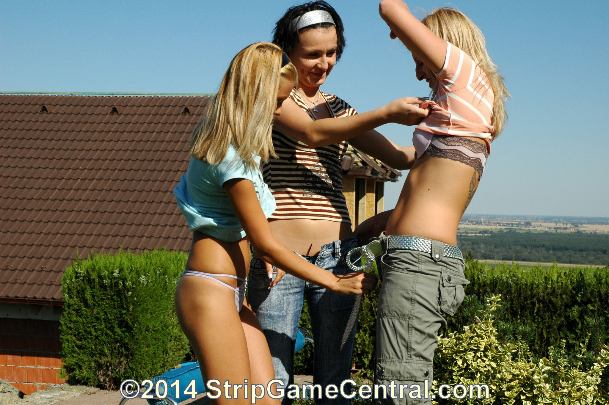 Naked teen girls play fight