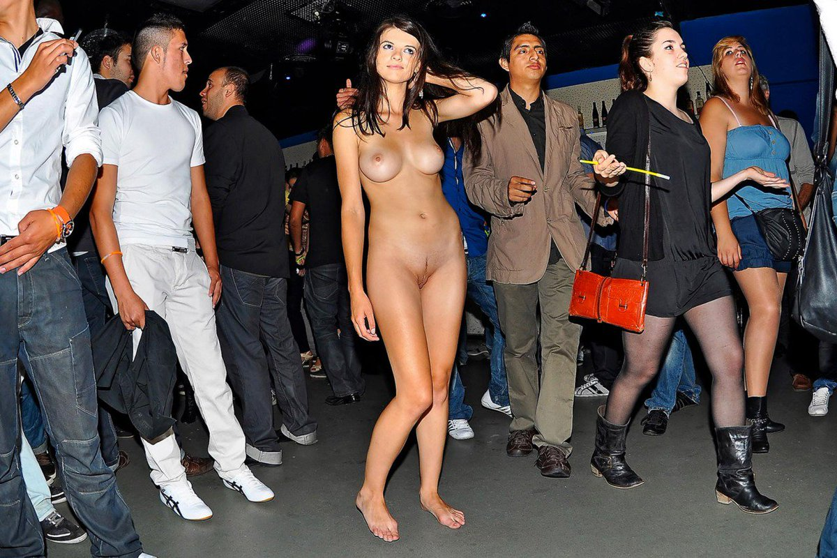 Naked girl in crowd