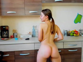 Naked mexican girl in the kitchen